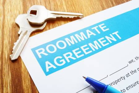 Roommate agreement for rent room and keys. Stock Photo