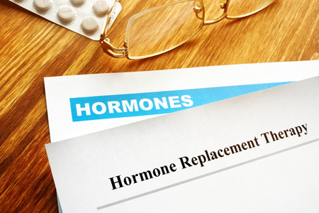 Hormone replacement therapy HRT. Prescription on the desk.