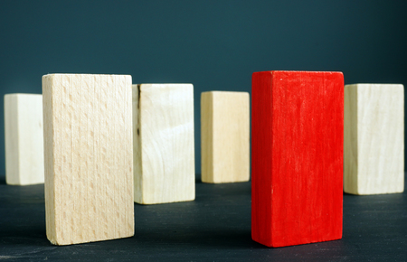 Different and unique concept. Red block and wooden blocks. Banque d'images - 123117549