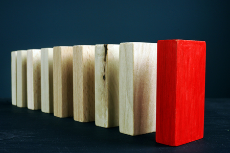 Leadership or unique and difference concept. Line from wooden blocks. Фото со стока