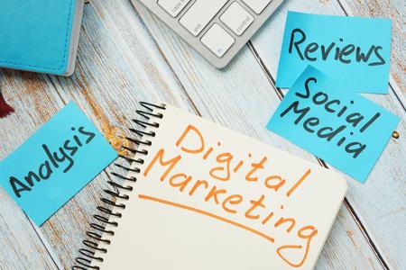 Digital marketing concept. Cards Analysis, social media and reviews.