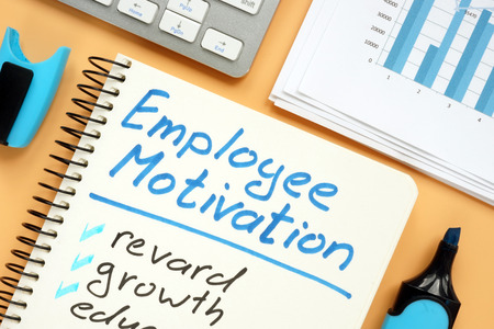 Employee motivation plan with words reward and growth.