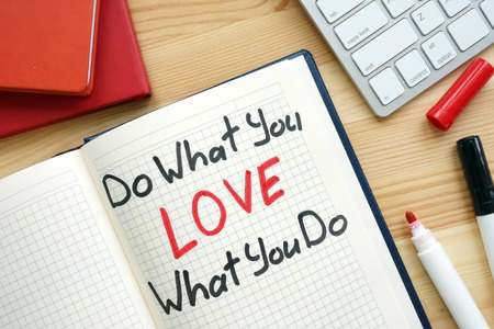 Do what you love what you do handwritten in a note. Stock fotó