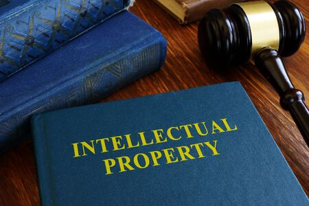 Intellectual property law about copyright on desk. 版權商用圖片