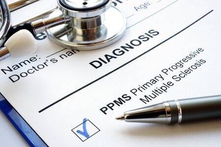 Medical form and diagnosis Primary progressive Multiple sclerosis PPMS. Zdjęcie Seryjne
