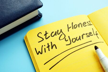 Stay honest with yourself written on the page. Banco de Imagens
