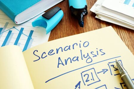 Scenario Analysis with graphs and stack of paper.