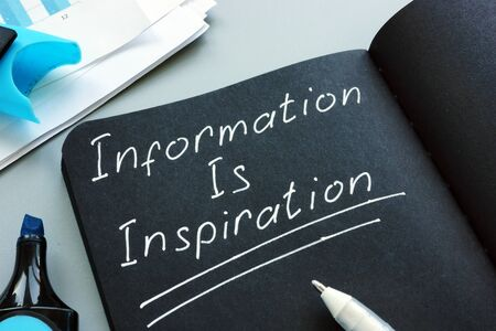 Information Is Inspiration written by pen in the note.