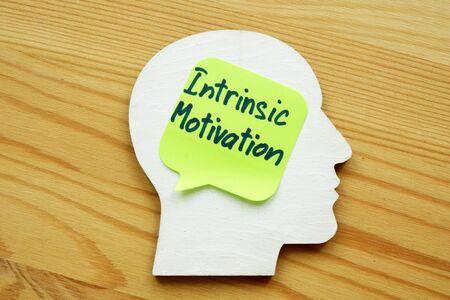 Intrinsic motivation written on a wooden head silhouette.