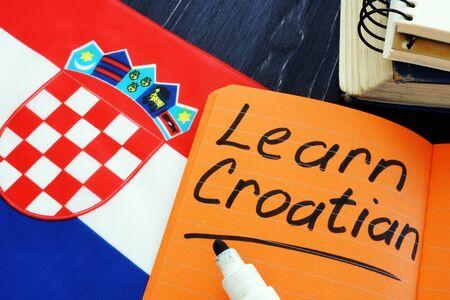 Learn Croatian language sign and flag.