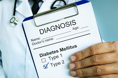 Diagnosis Diabetes mellitus type 2 in a medical form.