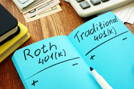 Roth 401k vs traditional. Comparison of retirement plans.