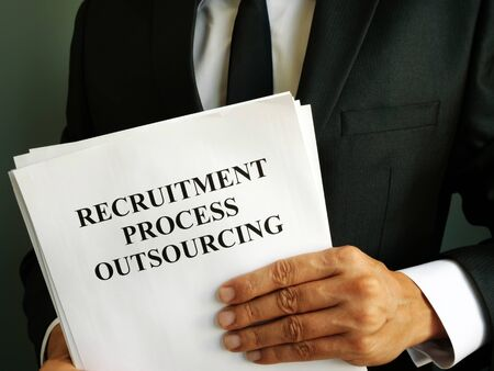Businessman holds Recruitment Process Outsourcing RPO.