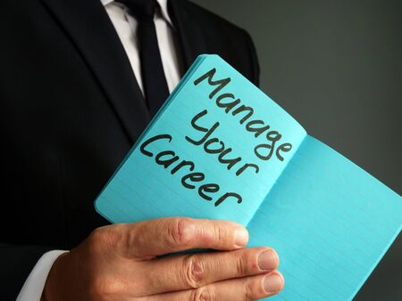 Manage your career handwritten on the page. Imagens