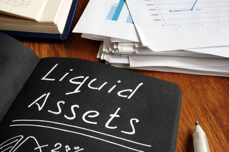 Liquid Assets list and calculations in the black notepad.