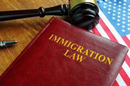 Immigration law act and USA flag. 版權商用圖片