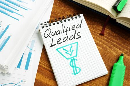 Qualified leads handwritten on a page and business papers.