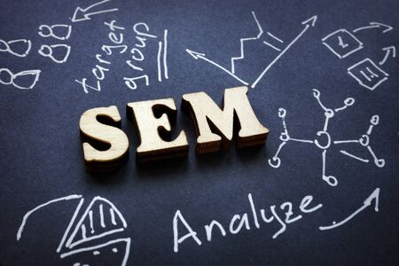 SEM letters from wood as abbreviation Search Engine Marketing. Imagens