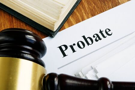Probate sign, stack of papers and gavel. Foto de archivo