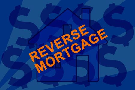 Reverse mortgage concept sign with home and money. Imagens