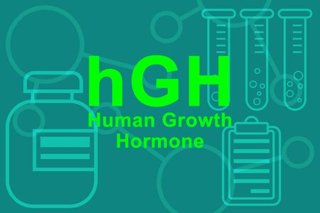 hGH Human growth hormone sign and medical test tubes. Imagens