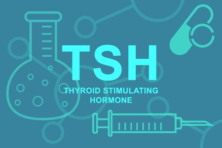 TSH Thyroid stimulating hormone inscription and beakers.