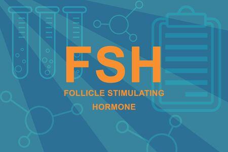 FSH Follicle stimulating hormone sign and beakers. 版權商用圖片