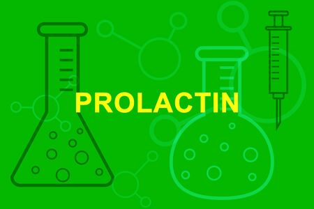 PRL Prolactin sign with medical beakers and syringe. Imagens