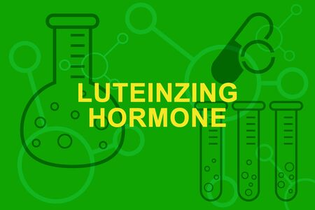 LH Luteinzing hormone inscription, test tubes and beakers.