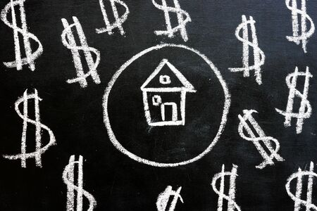 Loan and property investment. Chalk drawn house and dollar signs.