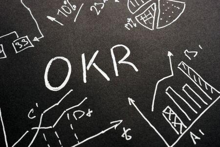 OKR - Objective Key Results handwritten letters on the sheet.
