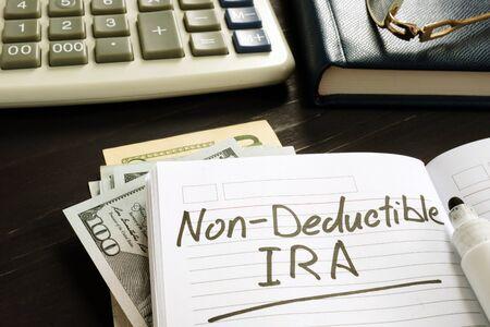 Non-deductible IRA sign. Retirement plan concept.