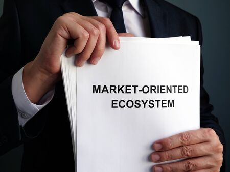 Businessman is holding market-oriented ecosystem MOE plan.