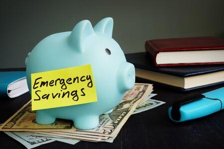 Emergency savings sign on the blue piggy bank.