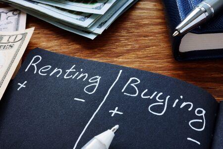 Renting vs buying comparison in the black notebook. Zdjęcie Seryjne