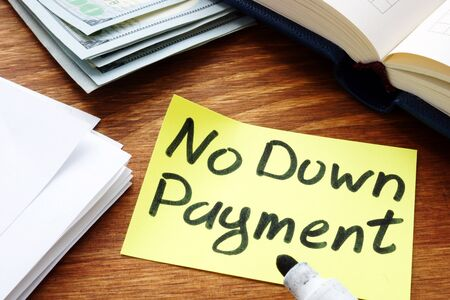 No Down Payment inscription on the yellow memo stick.