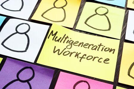 Multigeneration workforce concept. Multicolored memo sticks with figures.