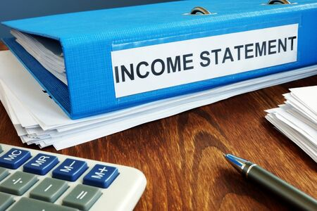 Income statement papers in the blue folder.