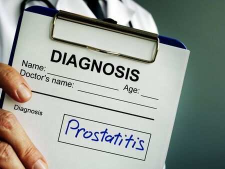 Diagnosis Prostatitis in the medical form with clipboard.