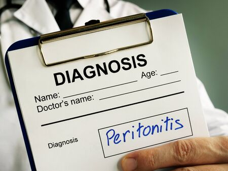 Peritonitis diagnosis. Doctor holds medical documents.