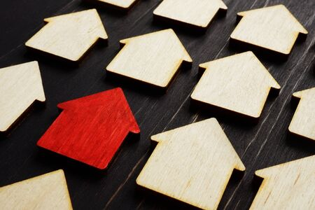 Property management concept. Red home model and wooden ones.