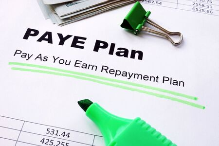 Pay As You Earn Repayment PAYE Plan underlined sign.