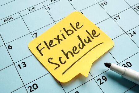 Flexible schedule handwritten memo on the calendar.