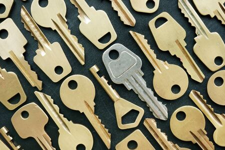 Key to success surrounded yellow keys. Be different.