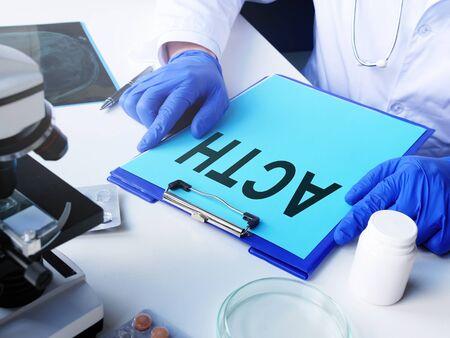 ACTH Adrenocorticotrophic hormone on the laboratory desk. Stock Photo