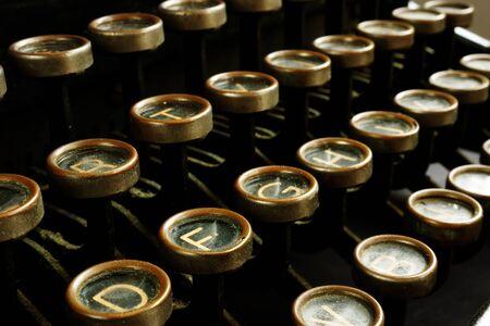 Closeup of retro antique typewriter keys. Content marketing concept. Stock Photo