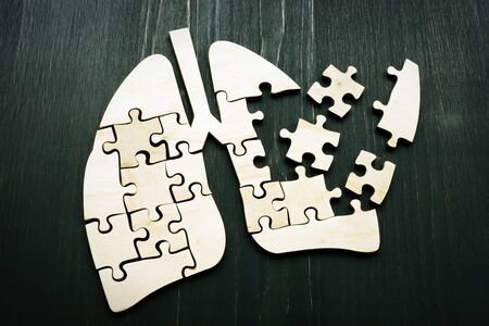 Human lung from puzzles as symbol of lung cancer or respiratory illness. Stock Photo