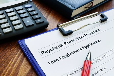 Paycheck protection program ppp loan for small business forgiveness application. Stock Photo