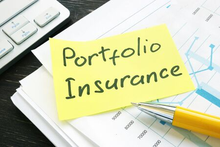 Memo Portfolio Insurance on a pile of business investment papers.