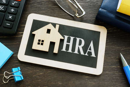 HRA house rent allowance word and small home.